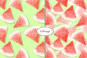 Watermelon patterns. Watercolor