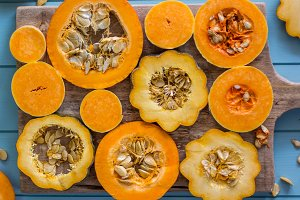Sliced pumpkins