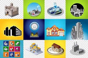 Vector industrial and city buildings