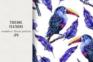 Watercolor toucans,feathers pattern