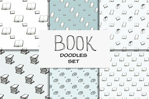 Book doodle set. 6 seamless patterns