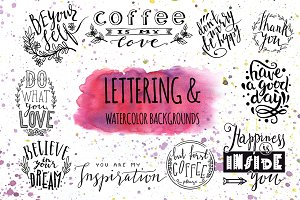 Lettering & Watercolor backgrounds