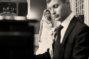 Amazing bride comes to a groom