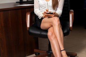 secretary is sitting