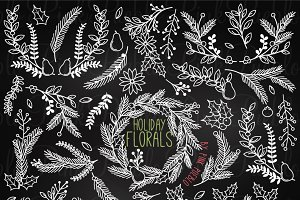 Chalkboard Christmas Holiday Florals