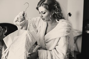 Bride in a bathrobe