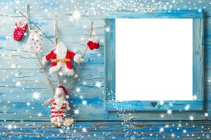 Christmas Santa photo frame card