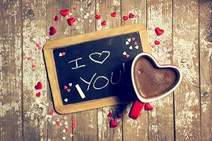 Love concept with chalkboard,coffee