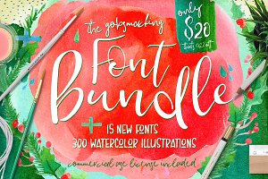 Font & Watercolor Bundle 92% OFF