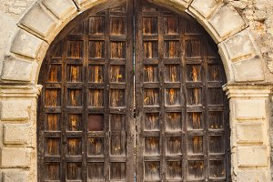 An old closed wooden door