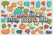 46 Hand Drawn Speech Bubbles Pack