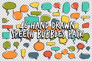 46 Hand Drawn Speech Bubbles Pack