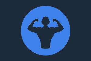 Bodybuilder Fitness Logo Icon