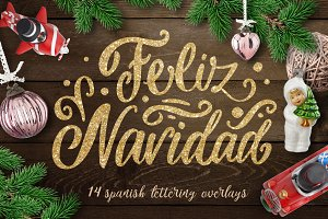 Spanish Christmas lettering overlays