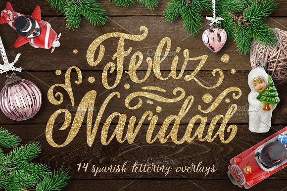 Spanish Christmas lettering overlays