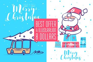 4 in 1 Christmas cards (set1)