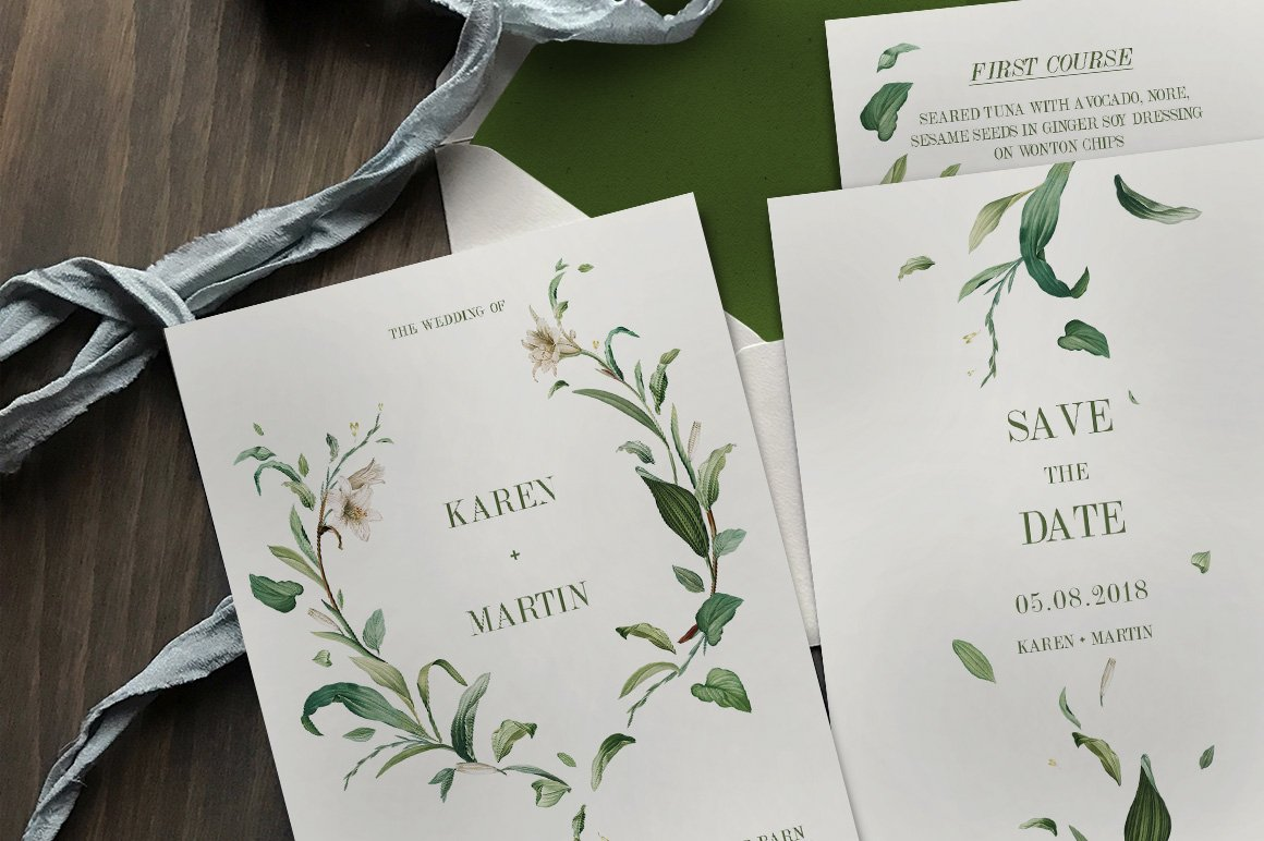 Green foliage wedding suite invitation templates creative market stopboris Images