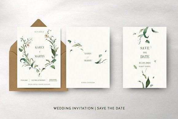 green foliage wedding suite invitation templates creative market