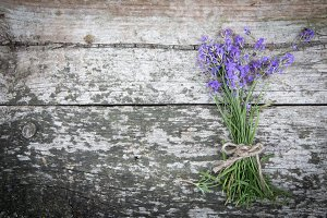 Bouquet of lavender on rustic table