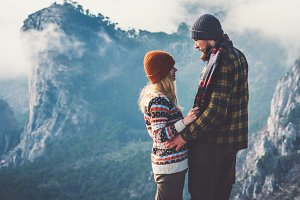 Couple lovers hugging mountains view