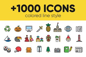 +1000 FILLED LINE ICONS