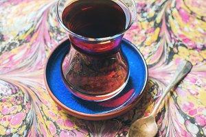 Turkish tea in oriental tulip glass