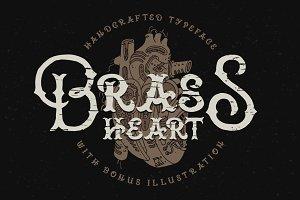 Brass heart font