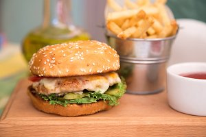 Burger with cutlet and fries