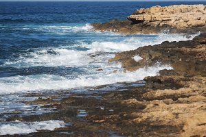 Cyprus rocky shore near Paphos, shallow depth of field
