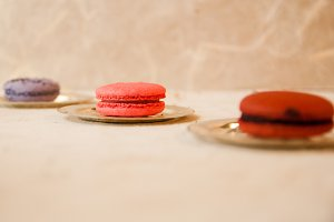 Purple Pink Red Macarons