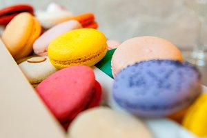 Box of Colorful Macarons