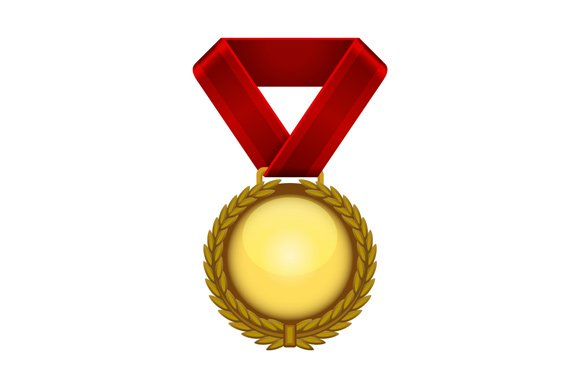 Gold Medal With Red Ribbon