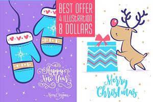 4 in 1 Christmas Cards (set5)