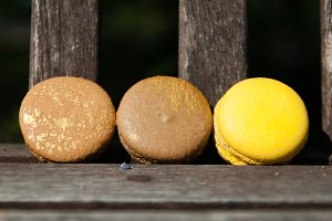 Brown Macarons with a Dash of Yellow