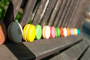 Row of colorful macarons