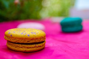 Speckled Yellow & Purple Macarons
