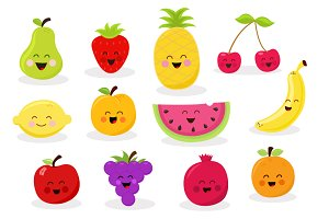 Collection Of Fruit Characters