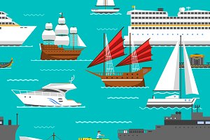 Seamless pattern with sea transport