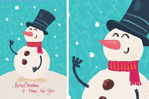Vector Happy snowman