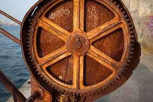 Rusty Gears of an Old Crane