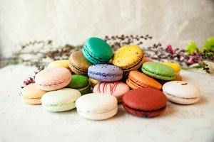 Pile of Colorful Macarons