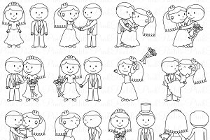 Wedding Stick Figure Clipart/Vector