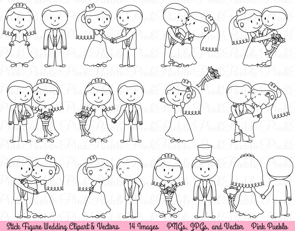 wedding stick figure clipart vector illustrations creative market