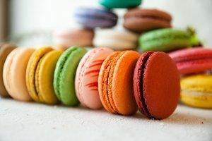 Row of Rainbow Macarons
