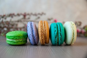 Peacock Inspired Row of Macarons