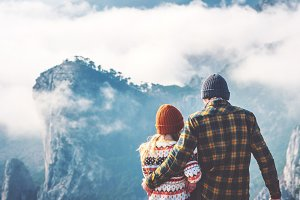 Couple lovers enjoying mountains