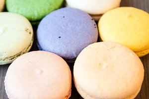 Hexagon of Pastel Colored Macarons