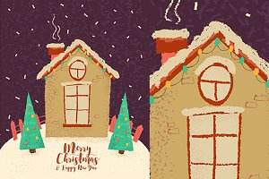Vector Christmas card (winter house)