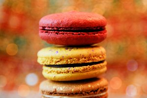 Red & Gold Macarons