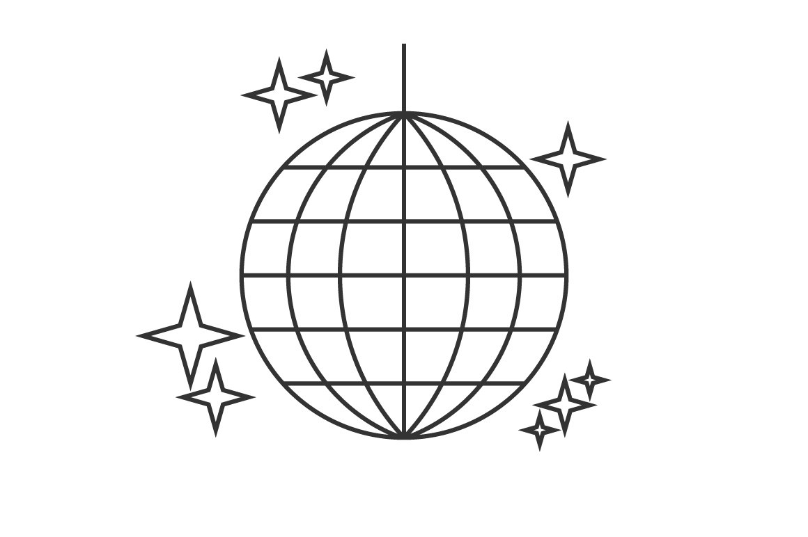Disco ball line icon ~ Icons ~ Creative Market